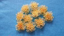 5pcs Fabric-Yellow-Organza Ribbon-Flowers-Appliques-Trimmings-Wedding- 30mm