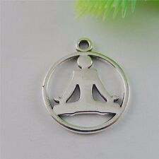 50675 Vintage Silver Alloy Yoga Sport Round Pendants Charms Jewelry 24pcs