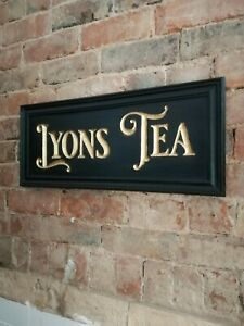 LYONS TEA sign carved wood gold black period vintage style wood sign VAC274