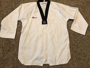 Taekwondo Uniform Size 4 180CM Black Neck White Tae Kwon Top A17