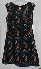 AUW Black/Brown/Ivory/Turquoise Print Sleeveless Dress Size 8 NWT