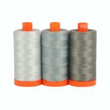 AURIFIL 100% Cotton Mako 50wt GREY 3 Spools (1300m each): 2600+2610+5004