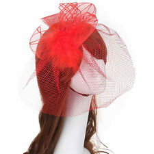 Women Wedding Fascinator Feather Hard Yarn Headband Hats Brides Hair Accessories
