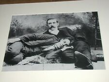 Reproduced Photograph Two Affectionate Men Gay Interest Fur Rug Missing Hand WOW