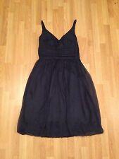 Ladies Petrol Blue Designer Short 100% Silk Crinkle Dress-Size 10 *Fully Lined*