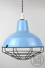 Industrial enamel lamp shade cage guard wire pendant cloth cord onoff light blue