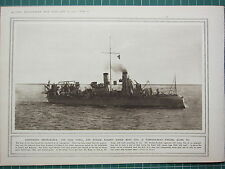 1915 WWI WW1 PRINT ~ TORPEDO-BOAT PASSING ALONG THE SUEZ CANAL IMPREGNABLE
