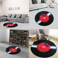 120cm Modern Vinyl Record Pattern Round Floor Mat Rugs for Room Decoration
