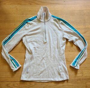 Icebreaker Bodyfit 260 Womens SZ M ¹/⁴ Zip Base Layer Merino Wool Ivory