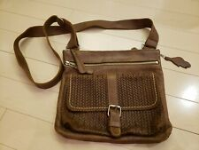 Roots Woven Brown Leather Crossbody Bag