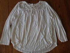 New Philosophy Womens Long Sleeve Crochet Top White Shirt S M 2XL XXL L
