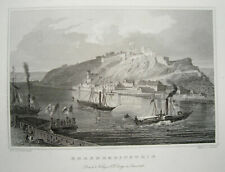 Festung Ehrenbreitstein  am Rhein bei Koblenz echter alter Stahlstich 1844