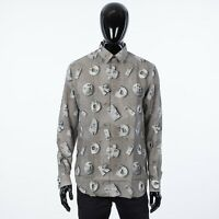DIOR 1100$ Gray Technical Canvas Dress Shirt in DIOR AND DANIEL ARSHAM Print