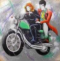 Quadro Lupin stilizzato III cm 100x100 con Margot Fujiko in moto pop art moderno
