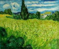 Van Gogh Landscape with Green Corn Repro, Hand Painted Oil Painting 20x24in