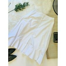Elle Sasson White Midi Skirt Button Front Sz 6