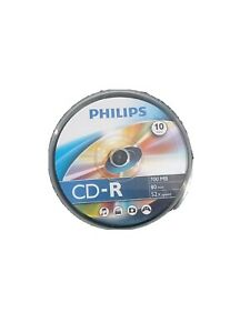 Philips CD-R Blank Recordable Discs 80 Mins 700mb 52x Speed Spindle Pack X 10