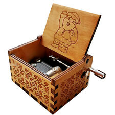 IG_ Classic Santa Claus Wooden Hand Crank Music Box Art Table Decor Collection G