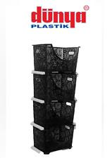 4 Tier Stacker Nester Rack Storage Lace Vegetable Basket Kitchen Office Black