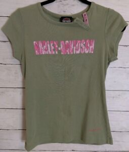 Harley Davidson Womens Green Tank Top Ladies tee Medium pink camo spell out