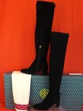 df25512aaa7 Tory Burch Laila 45 Black Suede Bow Gold Reva Zip Over The Knee BOOTS 9