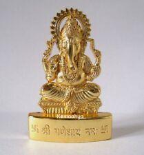 GANESH IDOL OM LORD HINDU GOD GOLD PLATED METAL IDOL STATUE DIYA