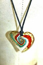 """Art Glass Red White & Blue Swirl Heart Pendant on Satin Corded Necklace 20"""""""