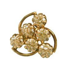 14Kt Real Gold Stud Yellow Nose Ear Pin Bone CZ Crystal Piercing Ring 20 Gauge