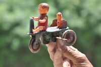 Vintage Wind Up Litho Boy Riding Tricycle With Baby Litho Tin & Celluloid Toy