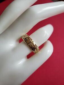 RARE MING'S Hawai'i Vintage 14K Gold Chinese Long Life Cutout Band Ring-Size 7.5