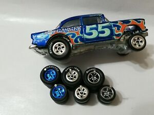 REAL RIDERS WHEELS RUBBER TIRES 55 CHEVY GASSER 3 SETS 1/64 HOT WHEELS HOOSIER