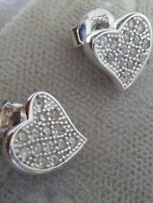 Small Size .925 STERLING SILVER Heart Earrings Micro paved cubic zirconia CZ