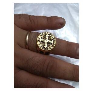 Mens Catholic St Saint Benedict Cross Ring Stainless Steel Exorcism Gold Medal