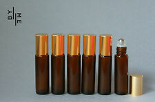 6x 10ml amber glass rollerball / roll on bottles w/ stainless steel roller ball