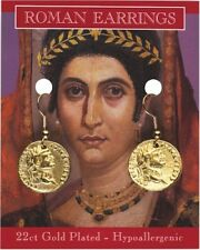 A Pair Of Roman Gold Plated Coin Earrings