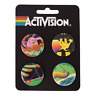 Activision Set of 4 Pins Badges Buttons New Freeway Pitfall Oink Laser Blast