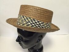 VINTAGE MEN'S BROOKS BROTHERS STRAW HAT SIZE 7 MADRAS CLOTH BAND