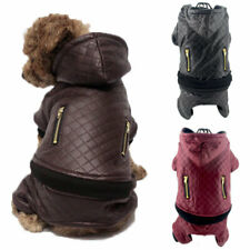 Winter Warm Dog Jumpsuit Leather Jacket Pet Clothes Puppy Cat Hoodie Coat Outfit