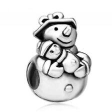 1Pcs Snowman Ornaments Charms Silver bead Fit Bracelet/Necklace Chain