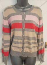 SOUTH Size 20 Cardigan Pink/Grey Striped Fitted Thin Knit Ladies Women's VGC