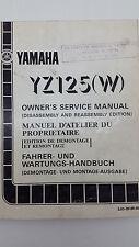 Yamaha Motorbike YZ125(W) Factory Owners Service Manual. 1st ed., July 1988