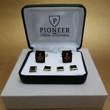 Pioneer Mason Insignia black in gold tone setting Studs & Cufflinks Set