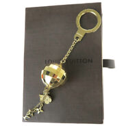 Auth LOUIS VUITTON Porte Cles Glitter Bag Charm Key Ring Gold M65379 67MA060