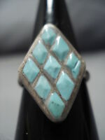 RARE INLAY TECHNIQUE VINTAGE ZUNI STERLING SILVER NATIVE AMERICAN RING OLD