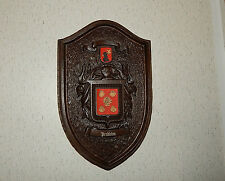 VINTAGE PENDLETON FAMILY CREST COAT-OF-ARMS SHIELD WALL HANGING.