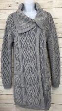 Aran Mor Gray Irish Wool Cable Knit Long Cardigan Sweater Sz Medium NEW