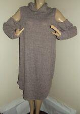 Womens Plus Size 3X PINK GRAY SOFT COWL NECK SWEATER DRESS 3XL long sleeve xxxl