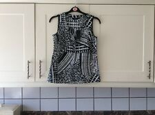 New ladies size 10 black and white linen mix summer top