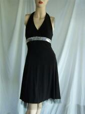 black dress silver sequin formal halter empire stretch B Darlin USA  small 1/ 2