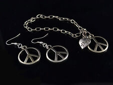SILVER TONE TOGGLE BRACELET WITH HEART & PEACE SIGN WITH EARRINGS SET